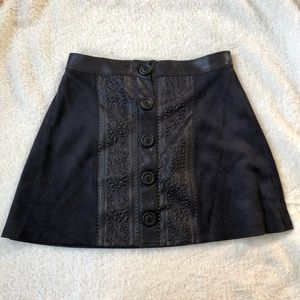 Dresses & Skirts - Navy Suede Detailed Skirt